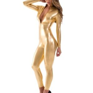 Gold bodysuit with front zipper size small